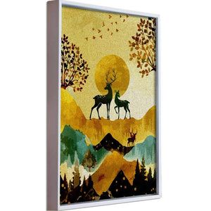 Deer Bird Theme Multicolored Framed Canvas Art Print, For Home & Office Decor