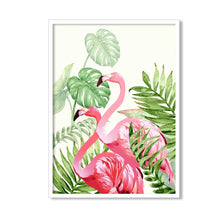 Load image into Gallery viewer, Art Pink Flamingo Framed Canvas Art Print, Painting - (Size - 13 X 17 Inch)