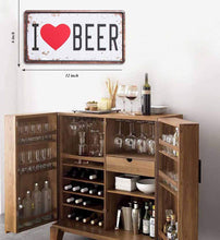 "Load image into Gallery viewer, I Love Beer Metal Tin Sign - Galvanized Iron With Printed, For Bar & Restores Decor Size- 6"" x 12"" Inch"