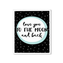 Load image into Gallery viewer, Love You The Moon and Back Theme Framed Canvas Art Print, Painting -11 x 13 inch