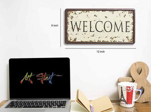 "Metal Tin Sign Welcome With Printed Top, For Home & Cafe Decor Size - 6"" x 12"" Inch"