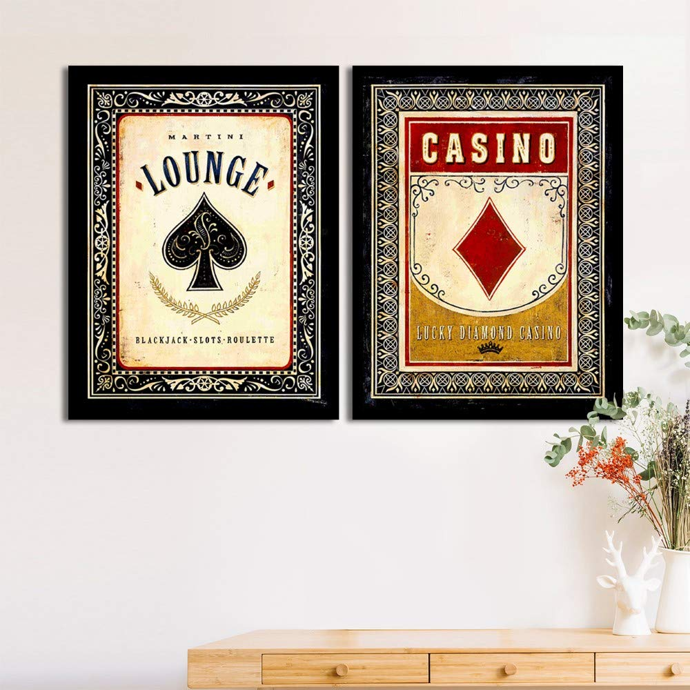 Art Street Set Of 2 Black Jack/Bar Matte Art Print, Framed Art Print For Home Decor