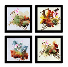"Load image into Gallery viewer, Abstract Floral Set Of 4 Black Framed Art Print Size - 9"" x 9"" Inch"