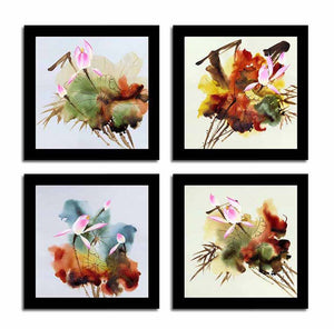 "Abstract Floral Set Of 4 Black Framed Art Print Size - 9"" x 9"" Inch"
