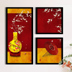 Art Street Abstract Pot Theme In Red & Yellow Background Framed Printed Set Of 3 Wall Art Print