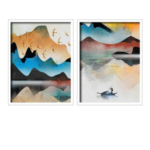 Landscape Theme Multicolor Framed Canvas Art Print, For Home & Office Decor