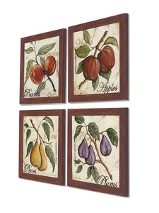 Fruits Set Of 4 Brown Framed Art Prints Size - 9 x 9 Inch