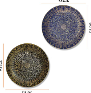Blue & Black Set of 2 MDF Decorative Wall Plates, Wall Décor Plates for Home & Office Decoration -Size-7.5x7.5 Inches
