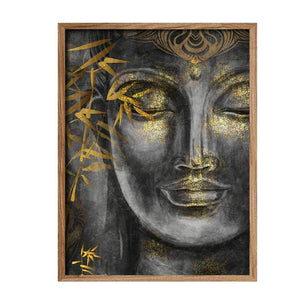 Buddha Face Theme Grey Gold Color 1 Framed Canvas Art Print, For Home & Office Decor