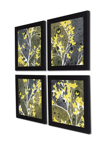 Yellow Bloom Set Of 4 Black Framed Art Prints Size - 9 x 9 Inch