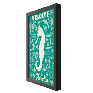 "# Welcome To Paradise Holiday Theme Framed Art Print Size - 13.5"" x 17.5"" Inch"