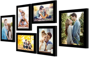 Photo Frame Set of 6 Black Picture Frame For Home Decoration Size -5x7, 6x8 Inches Eco Series