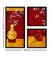 Load image into Gallery viewer, Art Street Abstract Pot Theme In Red & Yellow Background Framed Printed Set Of 3 Wall Art Print