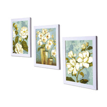 Load image into Gallery viewer, White Flower Set Of 3 White Framed Art Prints Size - 8 x 10 Inch