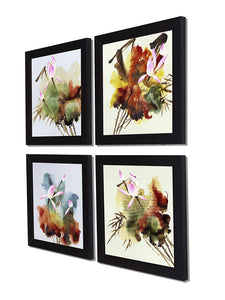Water Flower Set Of 4 Black Framed Art Prints Size - 9 x 9 Inch