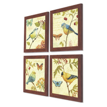"Load image into Gallery viewer, Jardin Bird Framed Art Print Set of 4 Brown Size- 9"" x 9"" Inch"