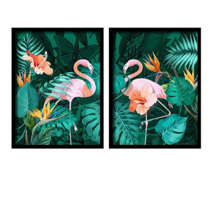 Beautiful Flamingo Theme Turquoise Blue Framed Canvas Art Print, For Home & Office Decor