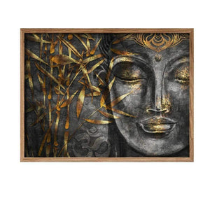 Buddha Face Theme Gold Grey Color Canvas Art Print, For Home & Office Decor