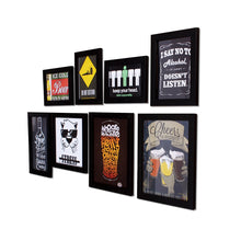 Load image into Gallery viewer, Set Of 8 Quirky Quote Black Framed Wall Posters - Bar Theme Wall Quotes