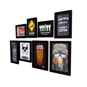 Set Of 8 Quirky Quote Black Framed Wall Posters - Bar Theme Wall Quotes