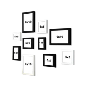 Set Of 10 Individual Wall Photo Frame, For Home Decor With Free Hanging Accessories