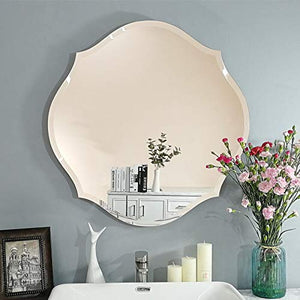 "Modern Frame-Less Glass Mirror For Home & Office Decor Size - 23"" x 23"" Inches"