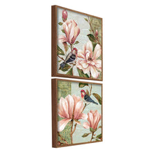 Load image into Gallery viewer, Floral Theme Set Of 2 Framed Canvas Art Print, Painting - Multicolored, Size 13 x 13 Inch