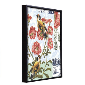 Bird Floral Theme Framed Canvas Art Print, Painting Multicolored - 13 x 17 Inch