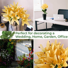 Load image into Gallery viewer, Artificial 12 Head Yellow Lilly Flowers With Stem For Home Decoration, Perfect For Decorating