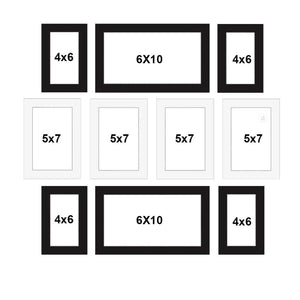 Set Of 10 Black Wall Photo Frame, For Home Decor With Free Hanging Accessories