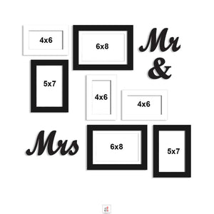Set Of 7 Black Wall Photo Frame, With Mr & Mrs MDF Plaque For Home Decor And Free Hanging Accessories