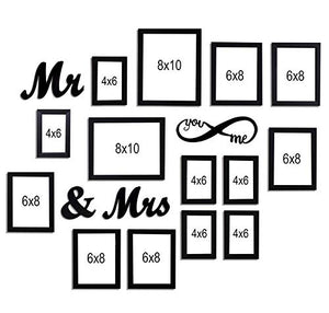 MDF Plaque You Me Infinity -Mr and Mrs Individual Wall Photo Frame Set of 14