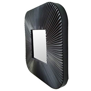 Decorative Square Black Wall Mirror for Living Room Set of 3