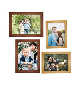 Art Street Set Of 4 Brown & Beige Wooden Wall Photo Frame, Picture Frame For Home Decor