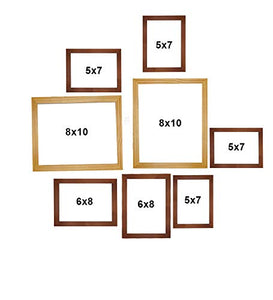 Art Street Set Of 8 Brown & Beige Wooden Wall Photo Frame, Picture Frame For Home Decor