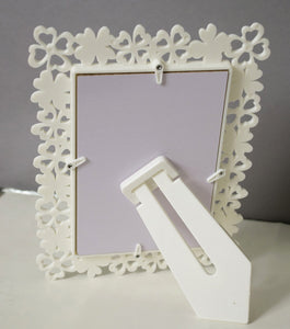 Decoralicious Designer White Flower Table Top Photo Frame Perfect For Office & Home Decor