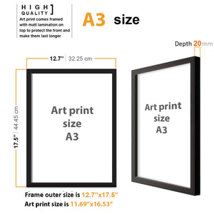 Art Street Set Of 2 Scenic View Matte Art Print, Framed Art Print For Home Decor