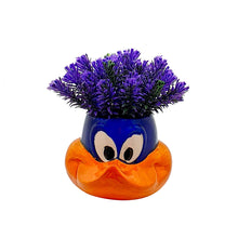 Load image into Gallery viewer, Purple Color Artificial Flower Plant With Cute Cartoon Vase, Perfect For Home & Office, Size - 6 x 7 Inch