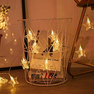 10 Bulb Five Pointed Star Shape LED Decorative String Light Battery Powered || Warm White || 1.5 Meter ||
