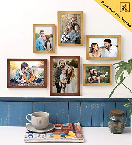 Art Street Set Of 6 Brown & Beige Wooden Wall Photo Frame, Picture Frame For Home Decor