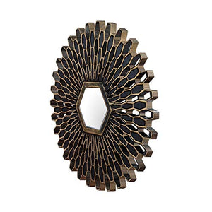 Art Street -Set of 3 Gold & Black Petal Mirror,Decorative in Round Shape (10 x 10 Inchs)