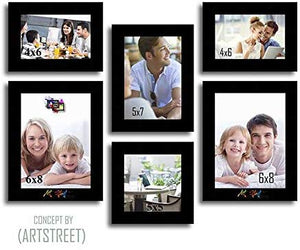 Hexed Wood Wall Photo Frame Set