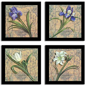 Floral Printed Set of 4 Black Framed Paper Art Prints