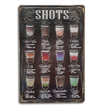 Load image into Gallery viewer, Shots Menu Retro Vintage Bar Metal Tin Sign