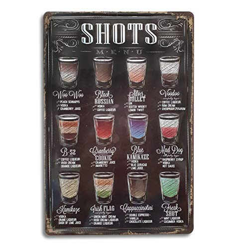 Shots Menu Retro Vintage Bar Metal Tin Sign
