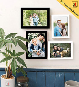 Art Street Set Of 4 Black & White Wooden Wall Photo Frame, Picture Frame For Home Decor