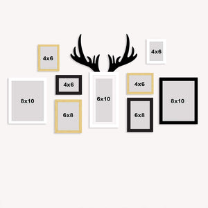9 Individual Multicolored Wall Photo Frames Wall Hanging With Horn Shape Plaque