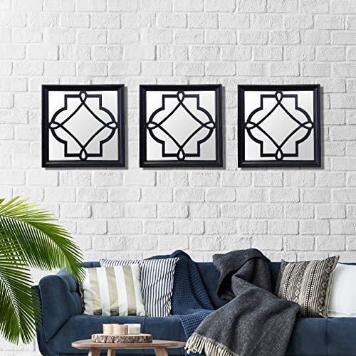 Art Street -Set of 3 Black Petal Mirror for Decorative in Square Shape (10 x 10 Inchs)