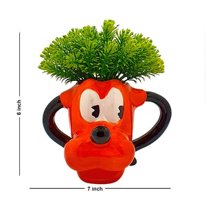 Green Color Flower Plant With Cute Cartoon Design Yellow Color Vase, Perfect For Home & Office Decor, Size - 6 x 7 Inch