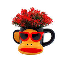 Load image into Gallery viewer, Yellow Color Multi-Head Artificial Flower Plant With Cute Cartoon Monkey Design With Pot, Perfect For Home & Office Decor Size - 6 x 7 Inch
